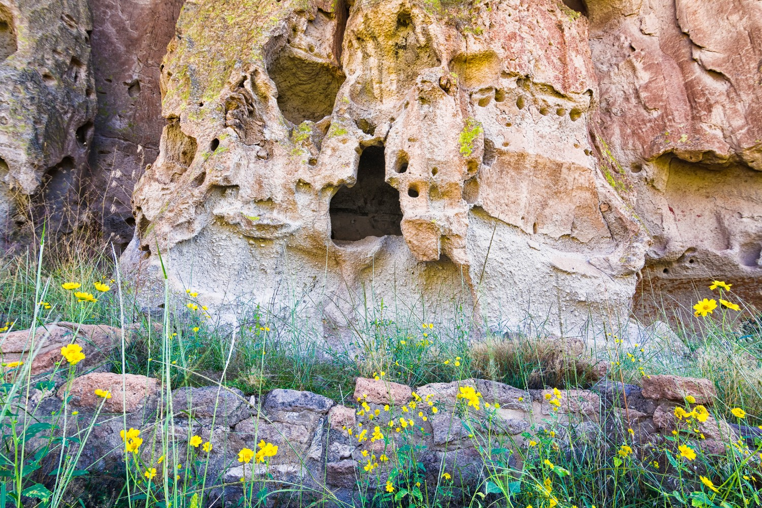 Ancient cave dwellings in Bandelier National Monument, NM Santa Fe Day Trips