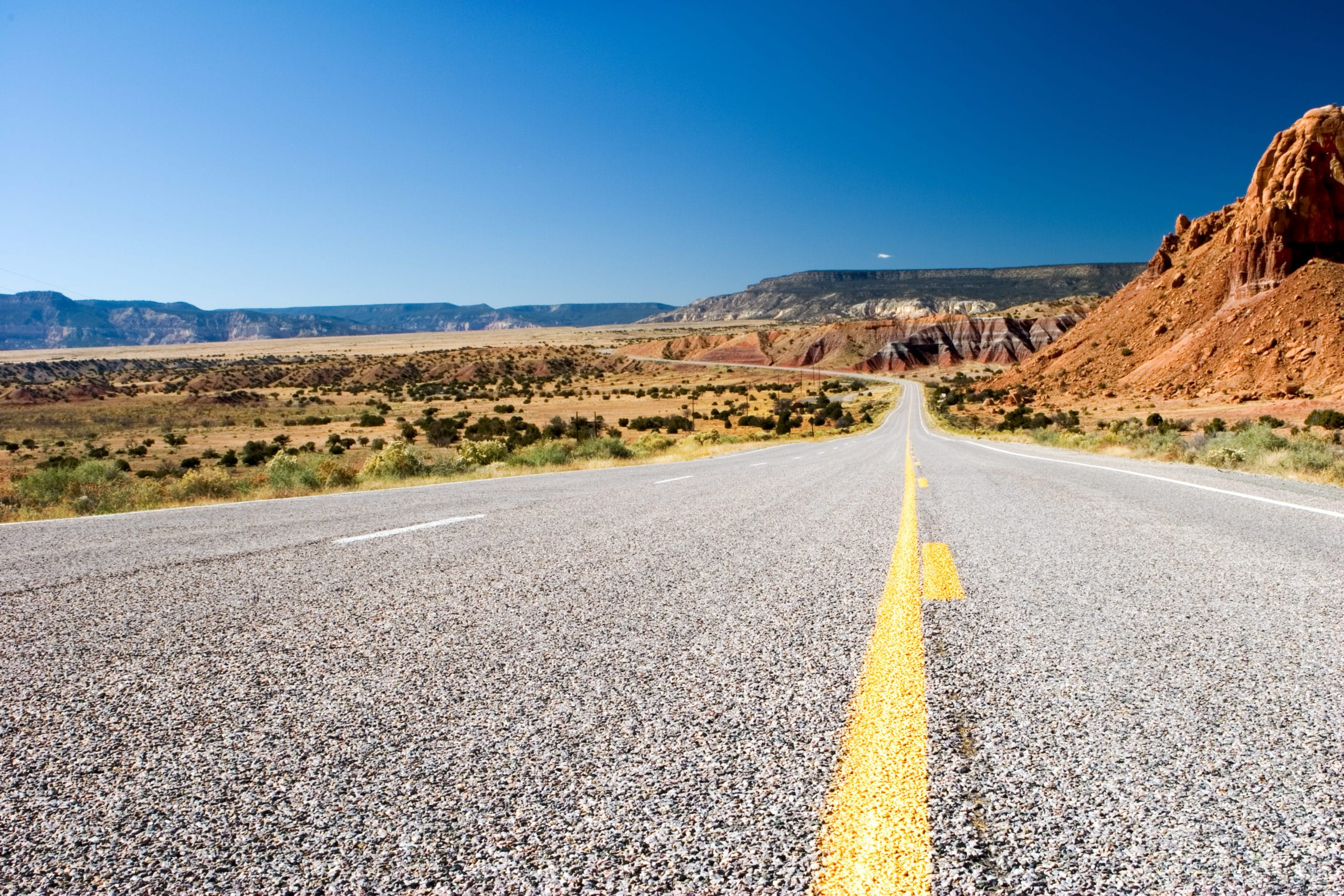 A road view of the Turquoise Trail in New Mexico
