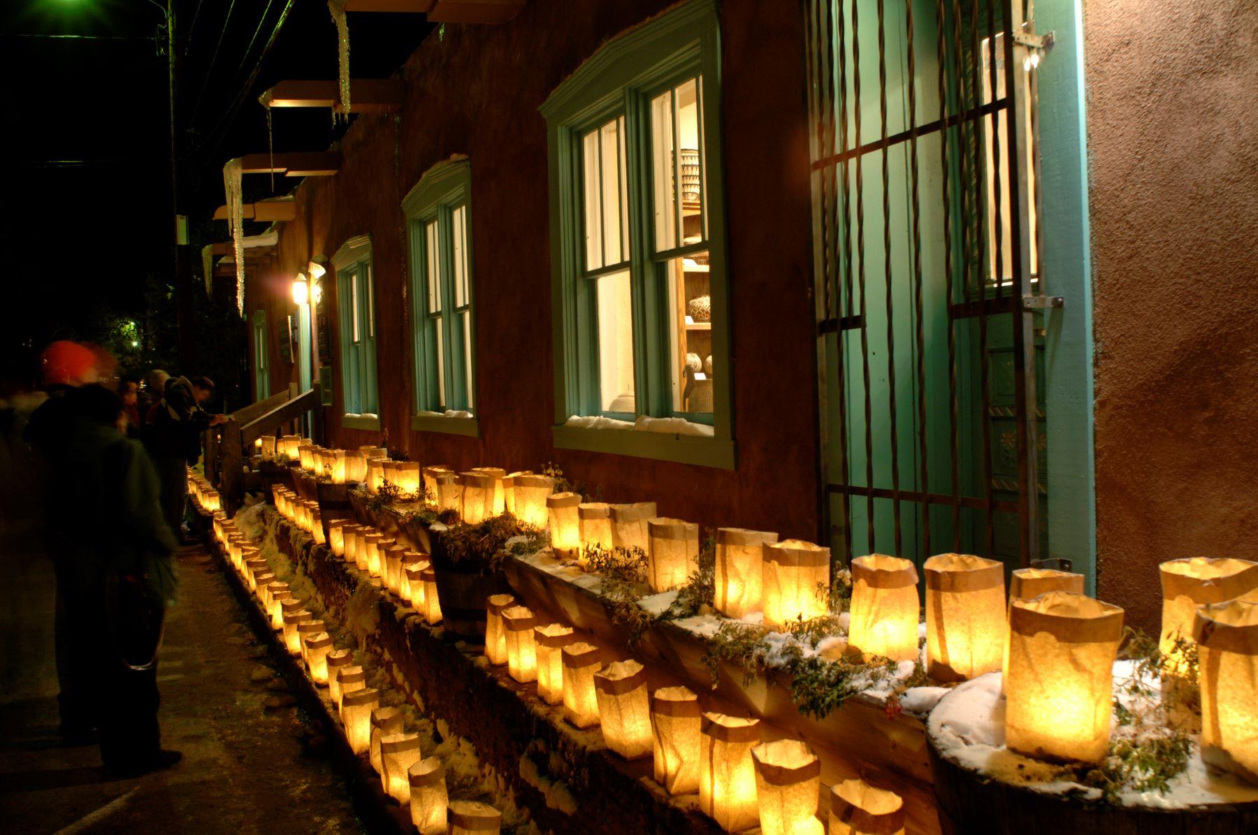 luminaries lining Canyon Road